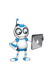 Weißer u. blauer Roboter-Charakter Stockbilder
