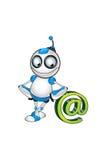 Weißer u. blauer Roboter-Charakter Stockfotografie