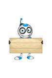 Weißer u. blauer Roboter-Charakter Stockfotos