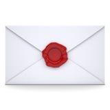 Weißer Umschlag mit einer roten Dichtung lizenzfreie abbildung