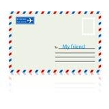 Weißer Umschlag mit Stempel. stock abbildung