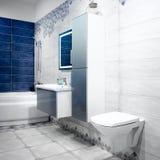 Weißer und blauer modrn Badezimmerinnenraum stockbild