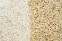 Weißer und brauner Reis Stockfotografie