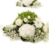 Weißer und grüner Hortensieblume Hortensia oder Ortensia mit weißen Rosen und Gypsophila Säuberndekorationsverzierungen Stockfotografie