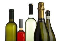 Weißer und rosafarbener Wein, Champagner, prosecco Flaschen lizenzfreie stockfotografie