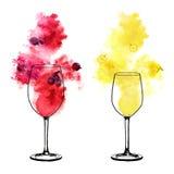 Weißer und Rotwein spritzt und winy Gläser auf weißem Hintergrund Handgemalte Aquarellillustration Stockfoto