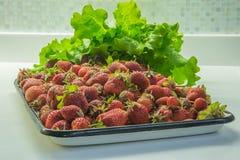 Weißer und schwarzer Behälter voll von den roten Erdbeeren, die mit verziert wurden, ließ Lizenzfreie Stockfotos