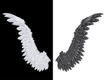 Weißer und schwarzer Flügel vektor abbildung