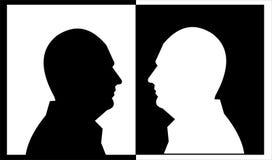 Weißer und schwarzer Kopf Stockfotos