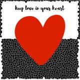 Weißer und schwarzer Mosaikhintergrund mit rotem Herzen Vektor Stockfotografie