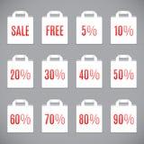Weißer Verkaufs-Einkaufstaschen Stockfotos