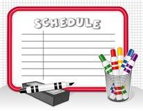 Weißer Vorstand-Zeitplan, Markierungen, Radiergummi EPS+JPG Lizenzfreies Stockfoto