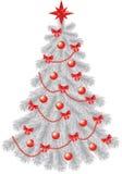 Weißer Weihnachtsbaum mit roter Dekoration Stockbilder