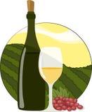 Weißer Wein-Flasche, Glas u. Trauben Lizenzfreie Stockfotografie