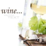 Weißer Wein, Traube und Käse Stockfotos