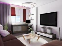 Weißer Wohnzimmerinnenraum Stockbild
