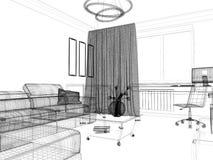 Weißer Wohnzimmerinnenraum Stockfotos