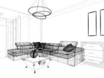 Weißer Wohnzimmerinnenraum Stockfotografie