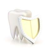 Weißer Zahn bedeckt mit dem Schild Lizenzfreie Stockfotografie