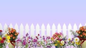 Weißer Zaun mit Blumen Stockfotos