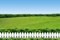 Weißer Zaun mit Gras auf blauem Himmel Stockfoto