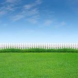Weißer Zaun mit Strauch und Gras Lizenzfreie Stockbilder