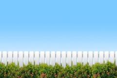 Weißer Zaun und Sträuche Stockfotografie