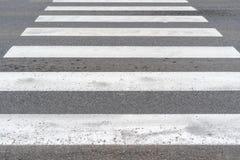 Weißer Zebrastreifen auf Asphalt lizenzfreie stockfotos