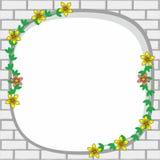 Weißer Ziegelstein-Rahmen mit Blumen-und Rebdekoration stock abbildung