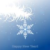Weißer Zweig mit Schneeflocke Stockbilder
