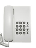 Weißes Bürotelefon. Stockbilder