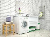 Weißes Badezimmer mit Waschmaschine lizenzfreies stockbild