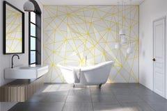 Weißes Badezimmergelbmuster, konkret stock abbildung