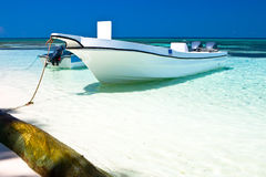 Weißes Bewegungsboot auf einem Sandstrand im Ozean Lizenzfreie Stockfotos