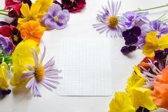 Weißes Blatt Papier umgeben mit bunten Blumen lizenzfreie stockfotografie