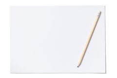Weißes Blatt und Bleistift mit Beschneidungspfad Stockbild
