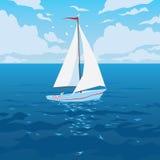 Weißes Boot mit Segel und roter Fahne Stockfotos
