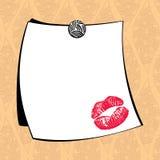 Weißes Briefpapier mit dem Impressum der Lippen Stockbild