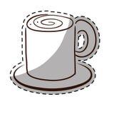 Weißes coffe cuppa mit Untertassenikone Lizenzfreie Stockbilder