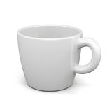 Weißes Cup auf weißem Hintergrund 3d übertragen image lizenzfreie abbildung