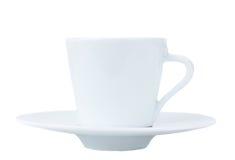 Weißes Cup mit Platte Stockfotografie