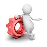 Weißes 3d Person With Red Cogwheel Gear Lizenzfreie Stockbilder