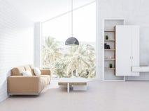 Weißes Dachbodenwohnzimmer, beige Sofa und Bücherschrank vektor abbildung