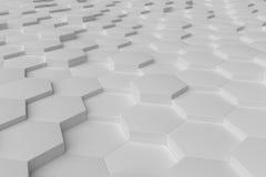 Weißes einfarbiges Hexagon deckt abstrakten Hintergrund mit Ziegeln Lizenzfreie Stockfotografie
