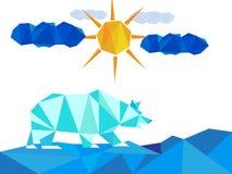 Weißes Eis betrifft Landschaft mit Eisbergen auf Winter mit Sonne und Wolken Lizenzfreie Stockbilder