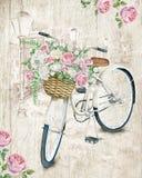 Weißes Fahrrad des Aquarells mit Rosen vektor abbildung