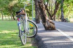 Weißes Fahrrad mit Korb Lizenzfreie Stockfotos