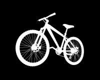 Weißes Fahrradschattenbild des Vektors auf schwarzem Hintergrund stock abbildung