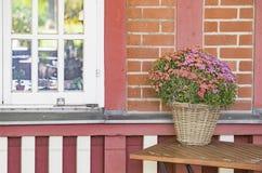 Weißes Fenster und Blumen Stockfoto