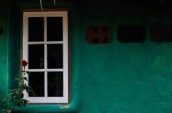 Weißes Fenster und grüne Wand Stockbild